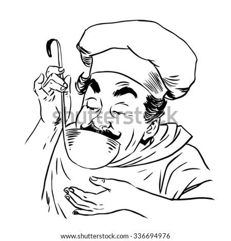 French Chef Retro Clip Art Stock Vector 57059992