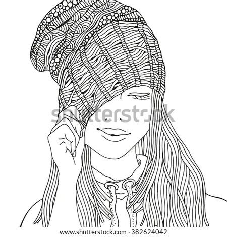 Sketch Young Girl Cap Scarf Vector Stock Vector 583790089
