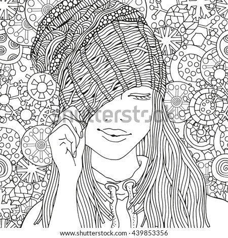 Girl Knitted Cap Pattern Coloring Book Stock Vector