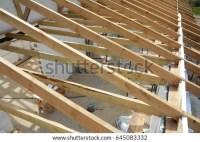 Installation Wooden Beams Construction Roof Truss Stock ...