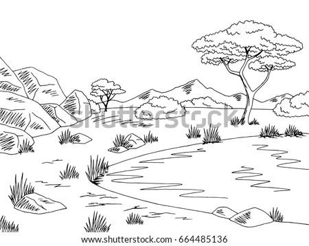 Cute Cartoon Meadow Mountain Kids Coloring Stock Vector