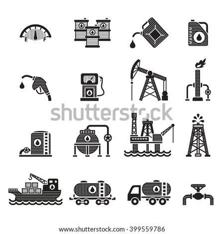 Oil Gas Industry Icon Set Oil Stock Vector 366989117
