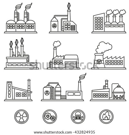 Industrial Building Factory Power Plants Icon Stock Vector