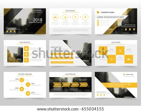 Yellow Infographic Elements Presentation Template Flat Stock Vector ...