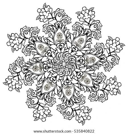 Decorative Art Flowers Zentangle Floral Pattern Stock