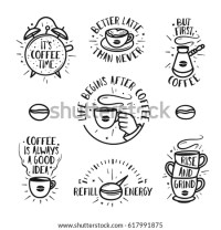 Hand Drawn Doodle Style Coffee Posters Stock Vector ...
