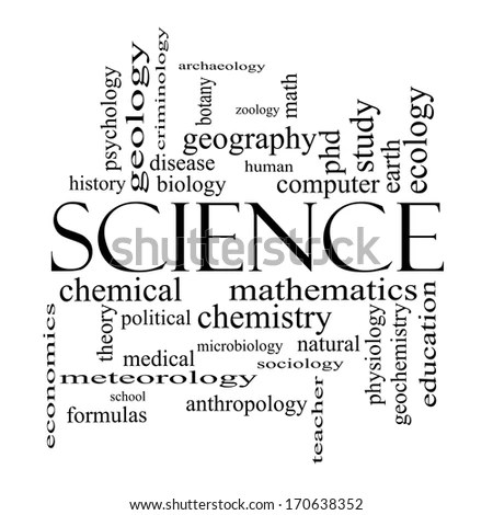 Science Word Cloud Concept Black White Lager-illustration