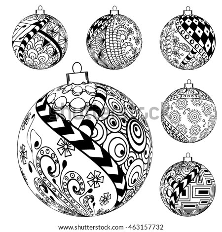 Hand Drawn Zentangle Pattern New Year Stock Vector