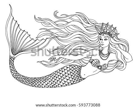 Mermaid Swimming Undersea Hand Drawn Linen Stock Vector