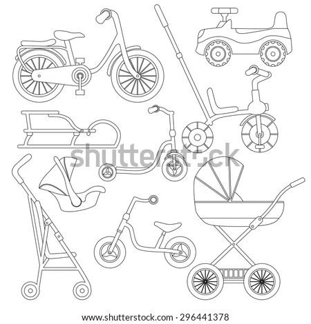 Set Transport Children Baby Carriage Pushchair Stock