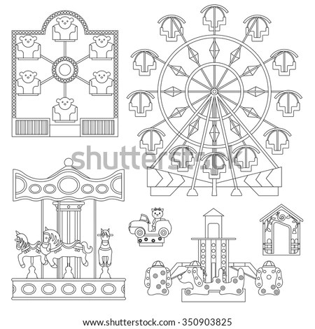 Set Rides Children Carousel Electric Cars Stock Vector