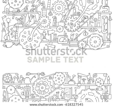 Machinery Template Space Text Doodle Cartoon Stock Vector