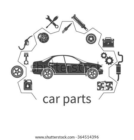 Auto Parts Maintenance Icons Vector Illustration Stock