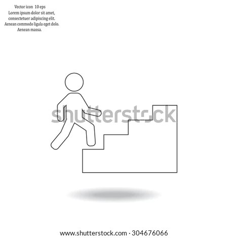 Hand Drawing Man Climbs Ladder Stock Photo 112963483
