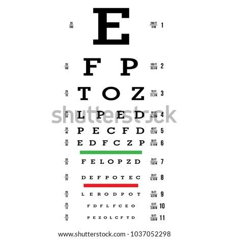 Eye Test Chart Vector Letters Chart เวกเตอร์สต็อก