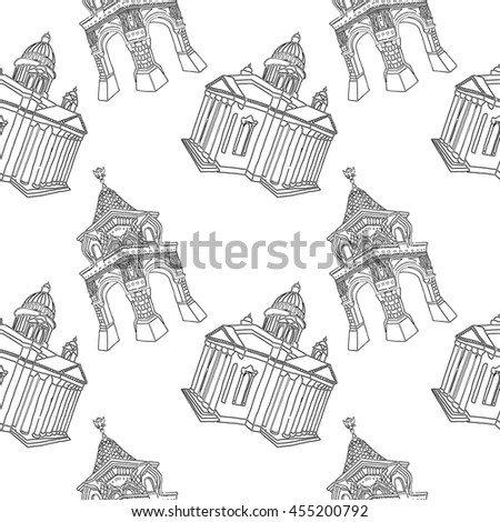 Russian Architecture Tourist Objects Seamless Pattern