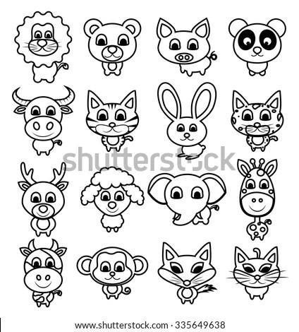 Cute Animal Set Vector Illustration Baby Stock Vector