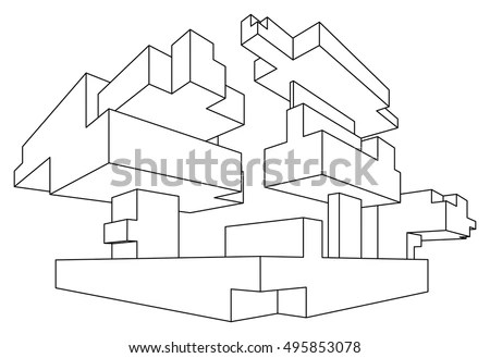 Rectangular Shape Linear Perspective Two Point Stock
