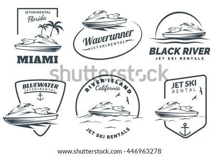 Set Jet Ski Rental Logo Badges Stock Vector 446963278