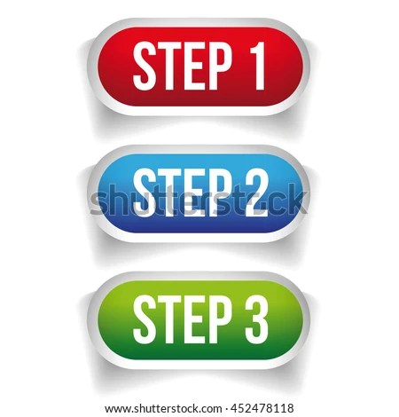 Step One Two Three Progress Buttons Stock Vector 452478118