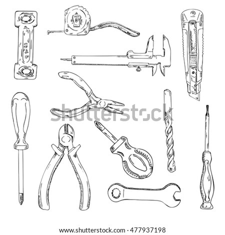 Set Construction Tools Repair Tool Kit Stock Vector