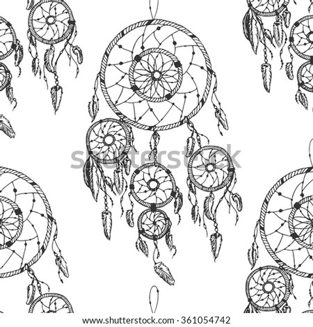 Hand Drawn Dream Catcher Set Stock Vector 379326115