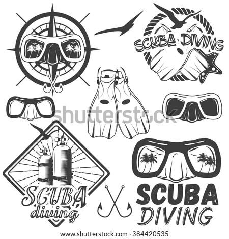 Vector Set Scuba Diving Center Labels Stock Vector