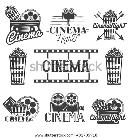 Vector Set Cinema Labels Logos Isolated Stock Vector