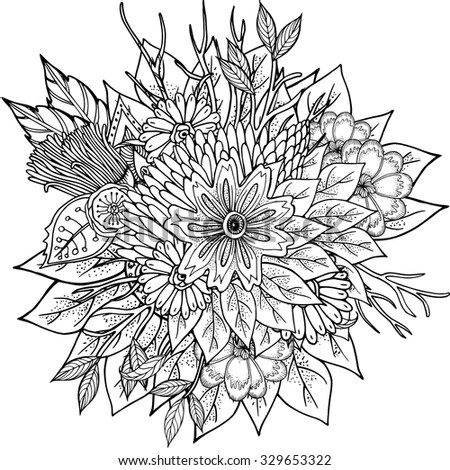 Hand Drawn Realistic Vintage Sunflower Pen Stock Vector