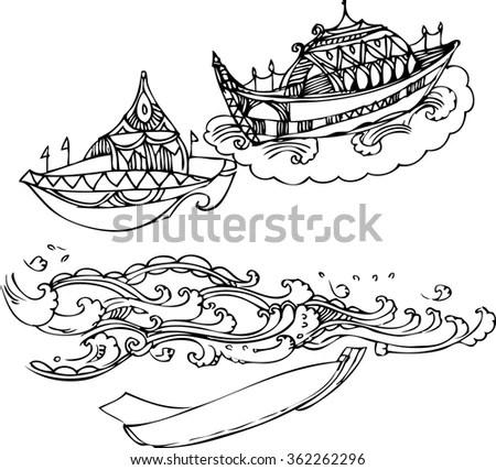 Viking Ship viking Ship Stormy Seapencil Drawing Stock