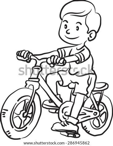 Cartoon Vector Outline Illustration Boy Riding Stock
