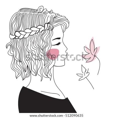 Girl Braided Hair Oblique Woman Face Stock Vector