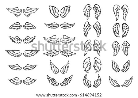 Set Hand Drawn Angel Bird Wings Stock Vector 614694152