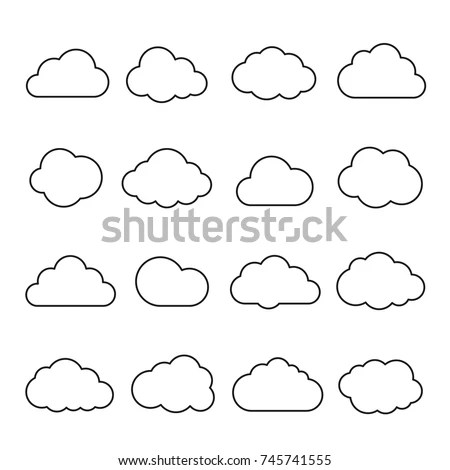Clouds Line Art Icon Storage Solution Stock Vector
