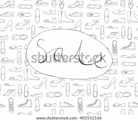 Hand Drawn Sketch Seamless Pattern Shoes Stock Vector