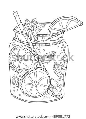 Navy Blue Mason Jar Coloring Page Coloring Pages