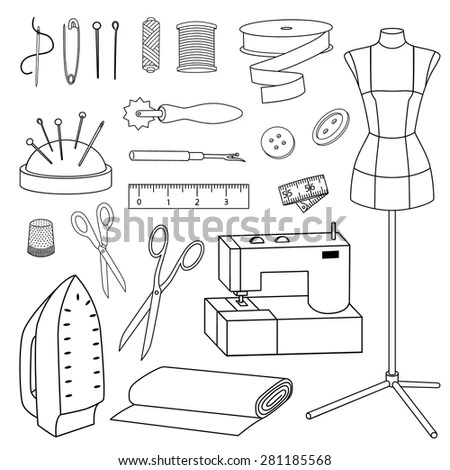 Isolated Vector Sewing Tools Line Icon Stock Vector