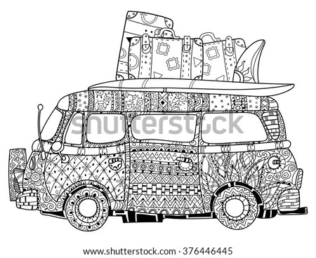 Hand Drawn Doodle Outline Retro Bus Stock Vector 376446445