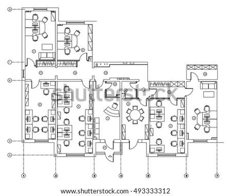 Black White Floor Plan Sketch House Stock Vector 246621421