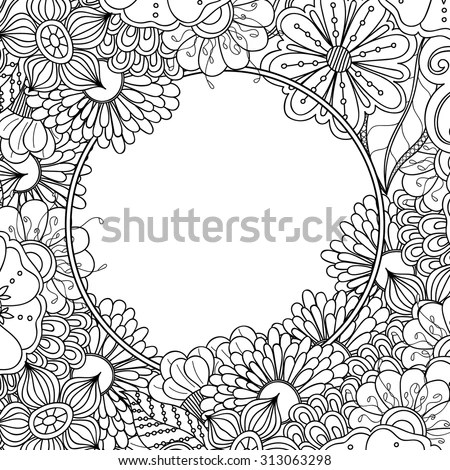 Floral Hand Drawn Zentangle Frame Doodle Stock Vector