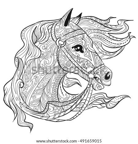 Hand Drawn Doodle Horse Face Page Stock Vector 491659015