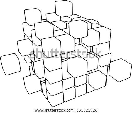 Outline Printout You Can Fold Make Stock Illustration