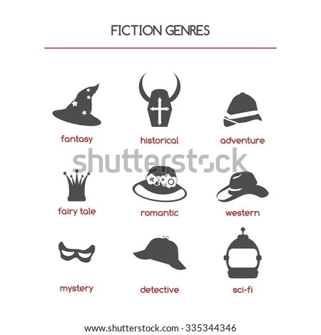 Set of fiction genre icons. Features fantasy, historical