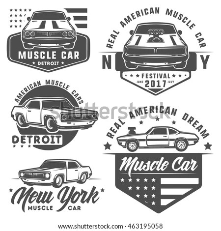 Set Muscle Car Logo Emblemsretro Vintage Stock Vector