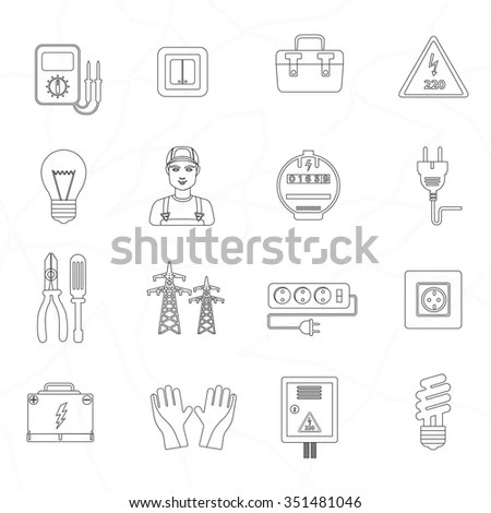 Vector Electricity Outline Icons Stock Vector 310776158