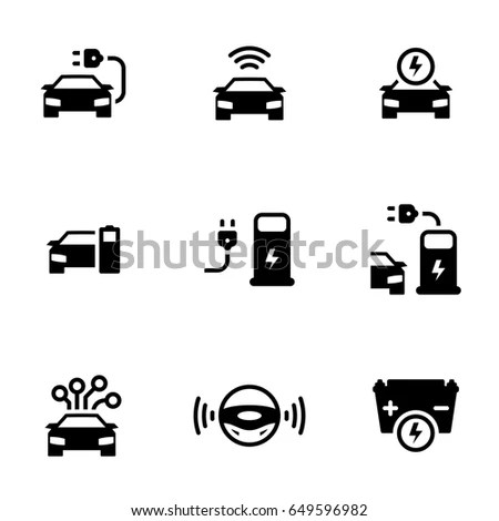 Set Simple Icons On Theme Driverless Stock Vector