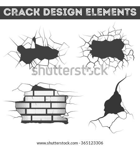 Damaged Brickwall Cartoon Style Design Vector Stock