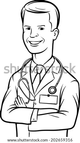 Color Illustration Doctor Vector Illustration Stock Vector