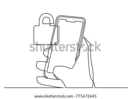 Continuous Line Drawing Hand Using Modern Stock Vector