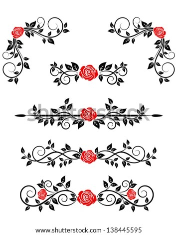Roses Floral Embellishments Borders Design Jpeg Stock